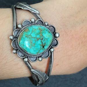 Sterling Turquoise Navajo Flower Cuff Bracelet